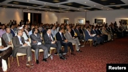 Lawmakers from Libya's newly-elected parliament assembled in Tobruk, Aug. 2, 2014.