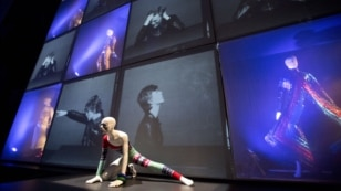 "The crazy costumes worn by David Bowie was displayed at the ""David Bowie is"" Exhibition at the Victoria and Albert Museum in London, March 20, 2013."