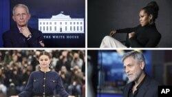 Tokoh Tahun 2020, searah jarum jam: Dr. Anthony Fauci, Regina King, Selena Gomez, dan George Clooney. (Foto: kombinasi).