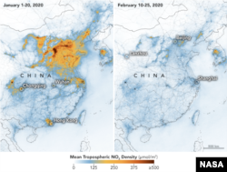 NASA and European Space Agency (ESA) pollution monitoring satellites have detected significant decreases in nitrogen dioxide (NO2) over China. There is evidence that the change is at least partly related to the economic slowdown following the outbreak of