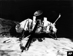 The NASA Viking Lander is pictured in a Mars simulation laboratory in this undated photo.