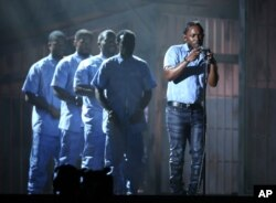 Kendrick Lamar performs at the 58th annual Grammy Awards on Feb. 15, 2016, in Los Angeles.