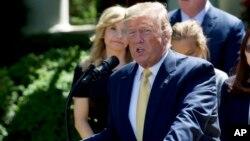 Tổng thống Donald Trump phát biểu tại Vườn Hồng Tòa Bạch Ốc ngày 14/6/2019.