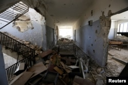 Damage is seen inside 'Syria, The Hope' school on the outskirts of the rebel-controlled area of Maaret al-Numan town, in Idlib province, Syria, June 1, 2016.