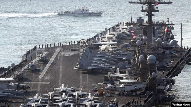 Một hàng không mẫu hạm của Mỹ tham gia cuộc tập trận với Hàn Quốc.