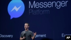 FILE - CEO Mark Zuckerberg talks about the Messenger app during a Facebook developer conference in San Francisco, California.