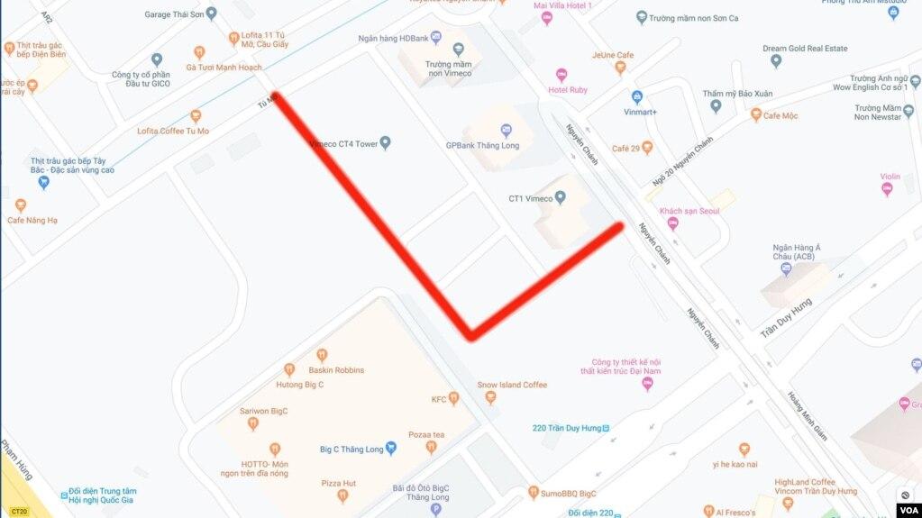 Phố mới mang tên Đinh Núp ở Hà Nội. Ảnh: Google Map.