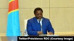 Le président congolais Joseph Kabila lors d'une réunion avec les 15 membres du Conseil de sécurité des Nations unies au Palais de la nation, à Kinshasa, le 5 octobre 2018. (Twitter/Présidence RDC)