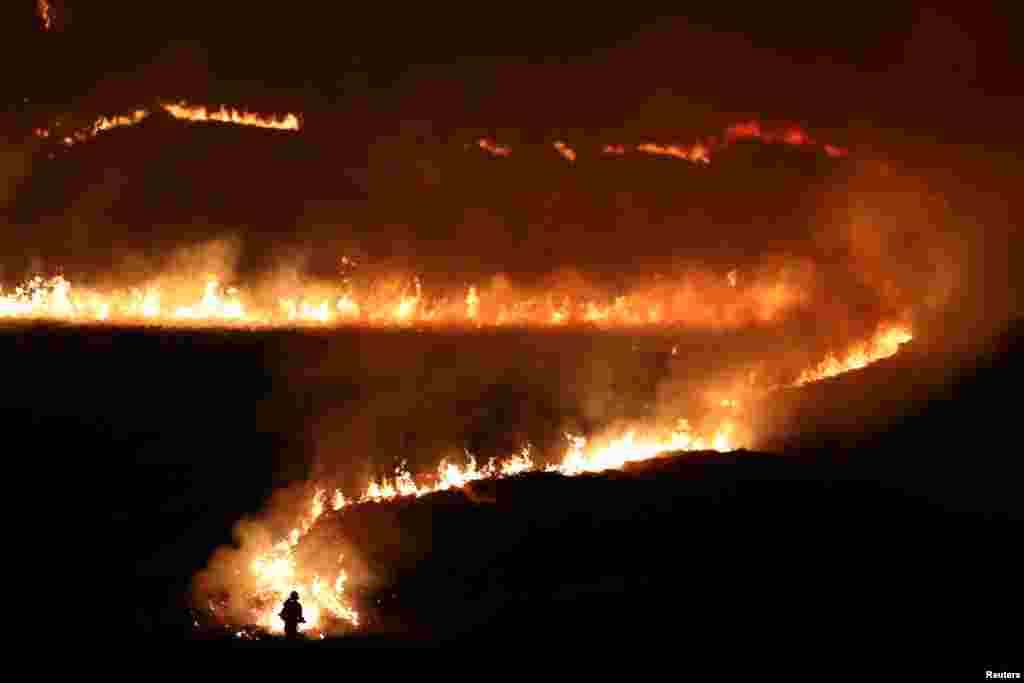 A fire on Saddleworth Moor near the town of Diggle, Britain.