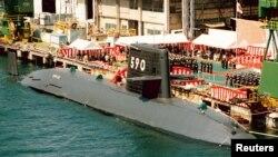 Tàu ngầm Oyashio của Nhật Bản tại cảng Kobe. (Ảnh tư liệu).