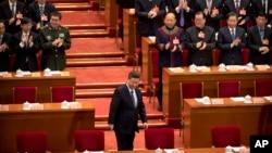 中国国家主席习近平2019年3月13日抵达北京人大会堂参加中国人大会议。