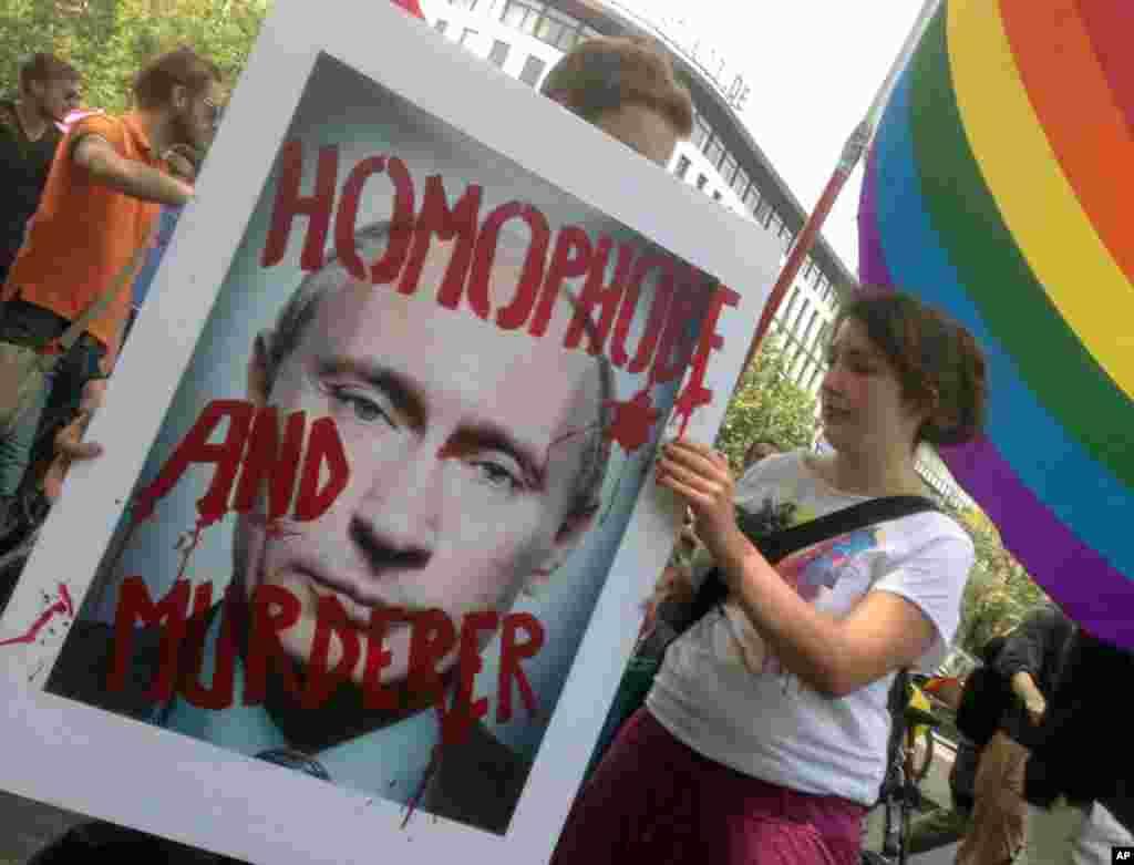 Демонстрация в Берлине против нового «антигейского» закона в России
