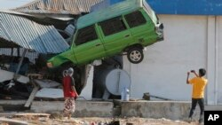 Dampak gempa dan tsunami di Pantai Talise, Palu, Sulawesi Tengah.