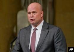 매튜 휘터커 법무장관 대행이 지난 16일 미 법무부에서 열린 정의의 참전용사 감사 기념식에 참석했다. (자료사진)