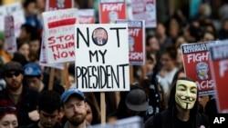美國華盛頓州西雅圖市有民眾抗議川普當選總統
