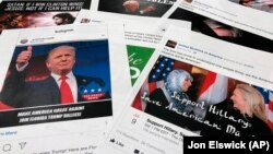 Some of the Facebook and Instagram ads linked to a Russian effort to disrupt the American political process and stir up tensions around divisive social issues, released by members of the U.S. House Intelligence committee.