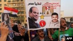 Des partisans du président Abdel Fattah al-Sisi jubilent après la publication des résultats de la présidentielle, Le Caire, 2 avril 2018.