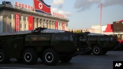 FILE - Missiles are paraded in Pyongyang, North Korea, Oct. 10, 2015.