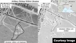 Một trong các hình ảnh do chính phủ Hoa Kỳ công bố chụp từ vệ tinh cho thấy vùng đất trước khi rocket từ phía Nga bắn vào lãnh thổ Ukraine và sau khi đó.