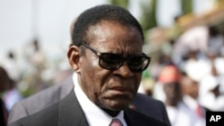 Le président de la Guinée équatoriale Teodoro Obiang Nguema à Abuja , Nigeria, 29 mai 2015.