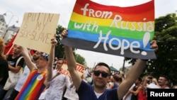 俄羅斯同性戀人士在德國西部城市科隆示威要求庇護 - 資料照片