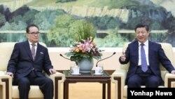 시진핑 중국 국가주석(오른쪽)이 지난달 1일 베이징 인민대회당에서 리수용 북한 노동당 중앙위원회 부위원장과 면담했다고 관영 신화통신이 보도했다. (자료사진)