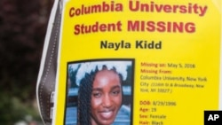 A poster put out by friends and family of Nayla Kidd after she went missing. She was found by police and explained she needed to leave Columbia University because life there became too stressful. (Associated Press)