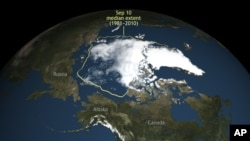 This image provided by the National Snow and Ice Data Center in Boulder, Colo., shows Arctic sea ice, which this summer shrank to its second-lowest level since scientists started to monitor it by satellite. The Colorado center said the sea ice shrank to its summer low point on Sept. 10, 2016, extending 1.6 million square miles.