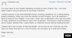 Comment on learning English 3