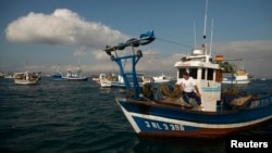 A Spanish fisherman in his boat takes part in a protest at the site of an artificial reef near Gibraltar August 18, 2013.