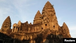A view of Cambodia's famous Angkor Wat temple is seen during sunrise in Siem Reap.