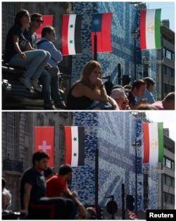 原來懸挂倫敦街頭的台灣青天白日國旗現在已被撤下