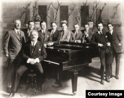 Victor Herbert, on piano stool, poses with the founding members of ASCAP in 1914. (Courtesy ASCAP)
