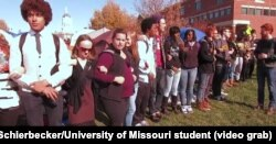 University of Missouri student protesters, led by a group called Concerned Student 1950 -- a reference to the year the university first admitted black students -- block access to Mel Carnahan quad on the campus in Columbia, Mo., Nov. 9, 2015.