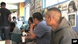 Border crossers at the Migrant Resource Center in Naco, Mexico