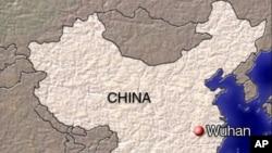 中國地圖上的紅點為武漢。