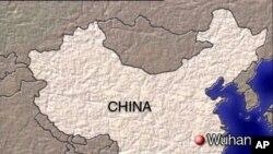 中國地圖上的紅點為武漢
