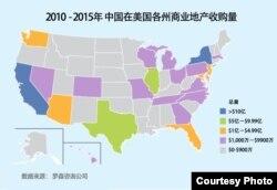 2010-2015年中国在美国各州商业地产收购量