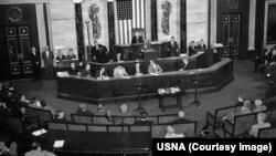 محمد داود خان، صدراعظم نظام شاهی افغانستان در ۲۵ جون ۱۹۵۸ به حیث نخستین مقام ارشد حکومت افغانستان در کانگرس ایالات متحده سخنرانی کرد