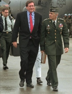 Richard Holbrooke with U.S. General Wesley Clark in the Bosnian capital, Sarajevo, in 1995