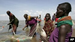 Indigenous populations at Loarengak in remote northwest Kenya surrive on fish and cattle in region where survival depends on access to water from the Omo River in Ethiopia. Ethiopia is building a hydro dam that Kenyans fear threatens Kenyan livelihoods.