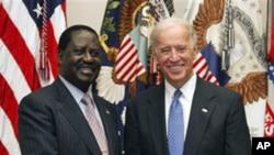 Vice President Joe Biden meets with Kenya's Prime Minister Raila Odinga, in the Roosevelt Room at the White House in Washington, April 12, 2011