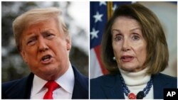 Presiden AS Donald Trump dan Ketua DPR Nancy Pelosi