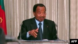 FILE - Cameroon President Paul Biya speaks at the presidential palace in Yaounde.