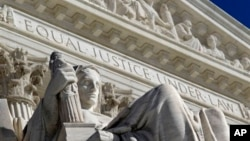 FILE - Detail of the West facade of the U.S. Supreme Court, Washington, D.C., March 7, 2011.