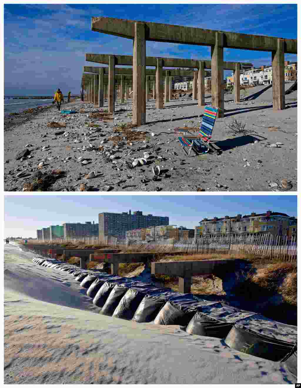 In this combination of Nov. 5, 2012 and Oct. 21, 2013 photos, Rockaway resident Christine Walker walks along the beach under what is left of the boardwalk in the wake of Superstorm Sandy in the borough of Queens, New York and the same site nearly one year later.
