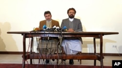 FILE - Officials of the Hezb-i-Islami faction speak during a press conference in Kabul, Afghanistan, March 17, 2016.