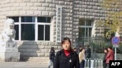 李蕊蕊去年在一审法院北京丰台区人民法院庭审后