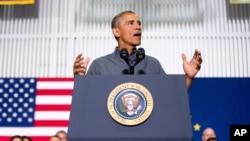 美国总统奥巴马在阿拉斯加州的一所学校发表讲话 (2015年9月2日)