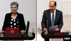 Milletvekillikleri düşürülen HDP'li Leyla Güven ve Musa Farisoğulları.